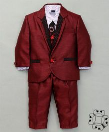 Adores 4 Piece Full Suit Style Party Wear Set - Maroon