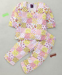 Enfance Gorgeous Multiprint Night Suit - Yellow & Purple