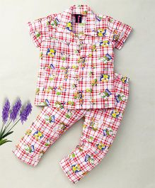 Enfance Trendy Night Suit With Animated Cartoons - Red