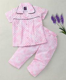 Enfance Polka Dot Print Collar Neck Nightsuit - Pink