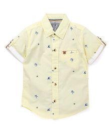 Gini & Jony Half Sleeves Shirt Sharks Print - Yellow