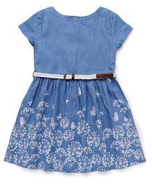 Gini & Jony Short Sleeves Frock Floral Print - Blue