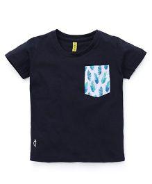 Gini & Jony Half Sleeves T-Shirt Feathers Print - Navy Blue