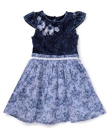 Gini & Jony Cap Sleeves Party Wear Frock Floral Print - Blue White