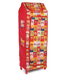 Kids Zone Red Big Jinni Folding Multipurpose Almirah Multi Print - Red