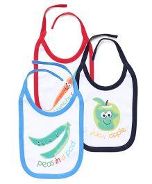 Simply Bibs Pack Of 3 Fruit & Vegetable Print - Red Navy & Royal Blue