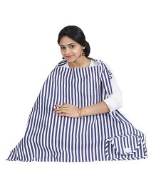 Lulamom Mothers Stripe Print Nursing Cover With Pocket - Blue