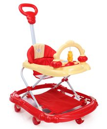 Musical Baby Walker With Push Handle - Red Yellow