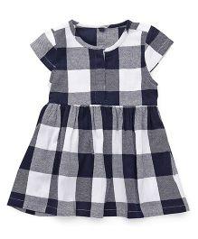 Bubblegum Trendy Checkered Dress - White & Navy Blue