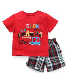 Spark Half Sleeves T-Shirt Printed And Checks Shorts - Red