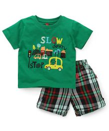 Spark Half Sleeves T-Shirt Printed And Checks Shorts - Green