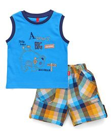 Spark Sleeveless T-Shirt Embroidered And Checks Shorts - Teal Blue