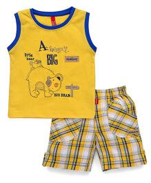 Spark Sleeveless T-Shirt Embroidered And Checks Shorts - Golden Yellow