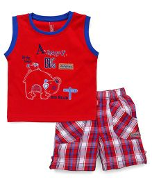 Spark Sleeveless T-Shirt Embroidered And Checks Shorts - Red