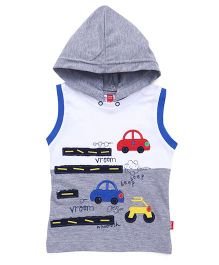 Spark Sleeveless Tee With Vehicles Patches - Grey White