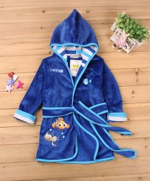 Pre Order - Mauve Collection Fish Patched Hooded Bathrobe - Blue