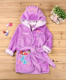 Pre Order - Mauve Collection Princess Patched Hooded Bathrobe - Purple