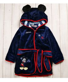 Pre Order - Mauve Collection Cartoon Character Patched Bathrobe - Navy Blue
