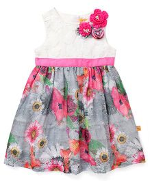 Yellow Duck Sleeveless Frock Floral Print With Waistband - Pink