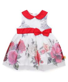 Yellow Duck Sleeveless Frock Floral Print - White Red