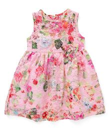 Yellow Duck Sleeveless Frock Floral Print - Pink