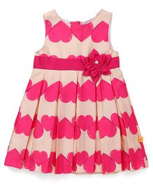 Yellow Duck Sleeveless Frock Heart Print - Pink