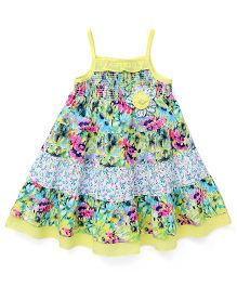 Yellow Duck Frock Singlet Neck Floral Print - Lemon