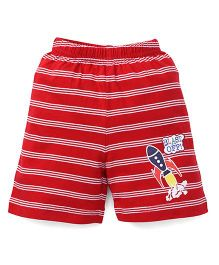 Bodycare Casual Shorts Stripes Design - Red