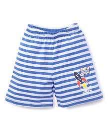 Bodycare Casual Shorts Stripes Design Rocket Print - Blue White