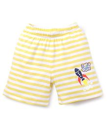 Bodycare Casual Shorts Stripes Design Rocket Print - Yellow