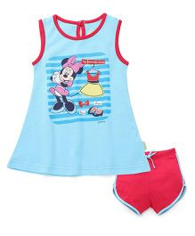 Bodycare Sleeveless Frock With Bloomer Minnie Print - Blue