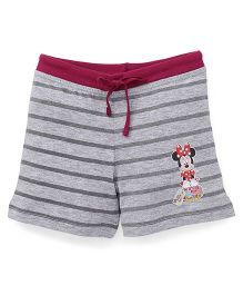 Bodycare Casual Shorts Stripes & Minnie Mouse Print - Dark Pink Grey