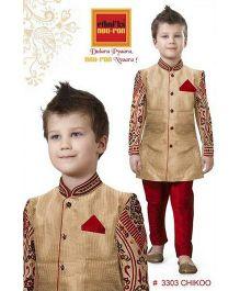Ethniks Neu Ron Full Sleeves Sherwani - Light Brown And Red