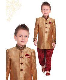 Ethniks Neu Ron Full Sleeves Sherwani - Light Brown And Maroon