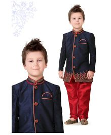 Ethniks Neu Ron Full Sleeves Sherwani - Blue And Red