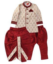 Ethnik's Neu Ron Kurta Pajama Set With Dhoti - Maroon & Cream