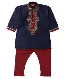 Ethnik's Neu-Ron Kurta Pajama Set - Blue  And Red