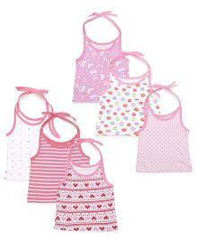 Kidi Wav Multiprints Tie Up Jhabla Pack Of 6 - Pink