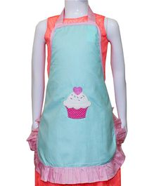 Kadambaby Kids Apron Cupcake Embroidery - Sea Green