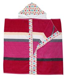 Kadambaby Hooded Bath Towel - Pink Red White