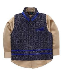Robo Fry Full Sleeves Shirt & Ethnic Jacket - Blue And Beige