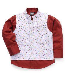 Robo Fry Full Sleeves Shirt With Jacket - Maroon White