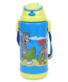 Tom And Jerry Print Large Water Bottle With Straw - Blue Yellow