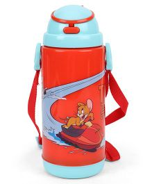 Tom And Jerry Print Large Water Bottle With Straw Red - 450 ml