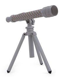 Comdaq Telescope With Tripod Stand Checks Print - Grey