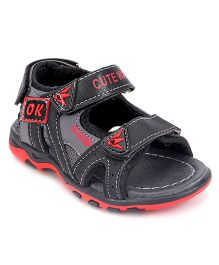 Cute Walk by Babyhug Floater Sandals - Black & Red