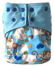 Chuddybuddy Monkeys Print All In One Cloth Diaper With Insert Stitched Inside - Blue