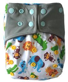 Chuddybuddy Animal Fun Print Cloth Diaper With Insert Stitched Inside - White