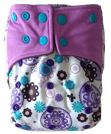Chuddybuddy Monsters Print Cloth Diaper With Insert Stitched Inside - Purple