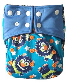 Chuddybuddy Love Print Diaper With Insert Stitched Inside - Blue